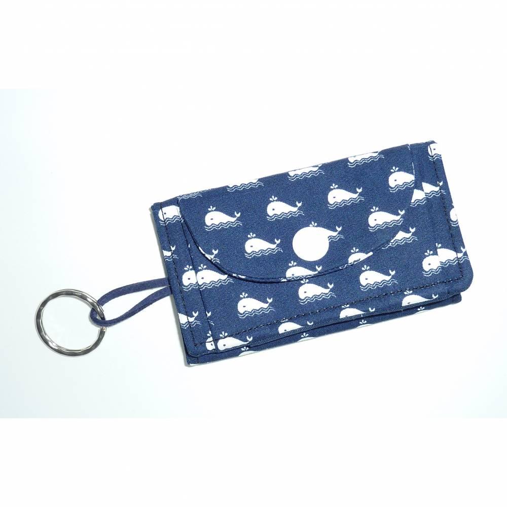 Geldbörse klein Walfische blau Schlüsselanhänger Bild 1
