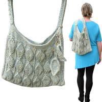 Schultertasche *Blätter* Shopper crochet 3D leaves bag, nachhaltig, Handarbeit Bild 1