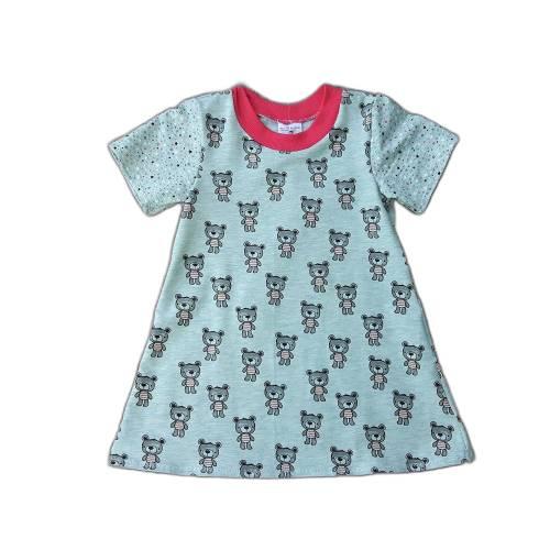 Mädchenkleid Sommerkleid kurzarm Größe 92 - kleine Bären grau