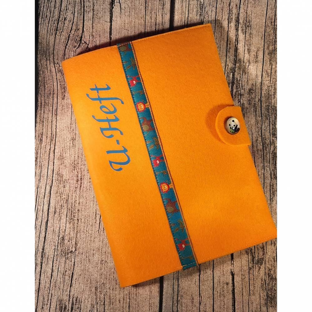 U-Heft-Hülle / U-Hefthülle mit Fach für den Impfpass aus Filz in gelb orange mit Tieren Löwen Tiger Elefanten Bild 1