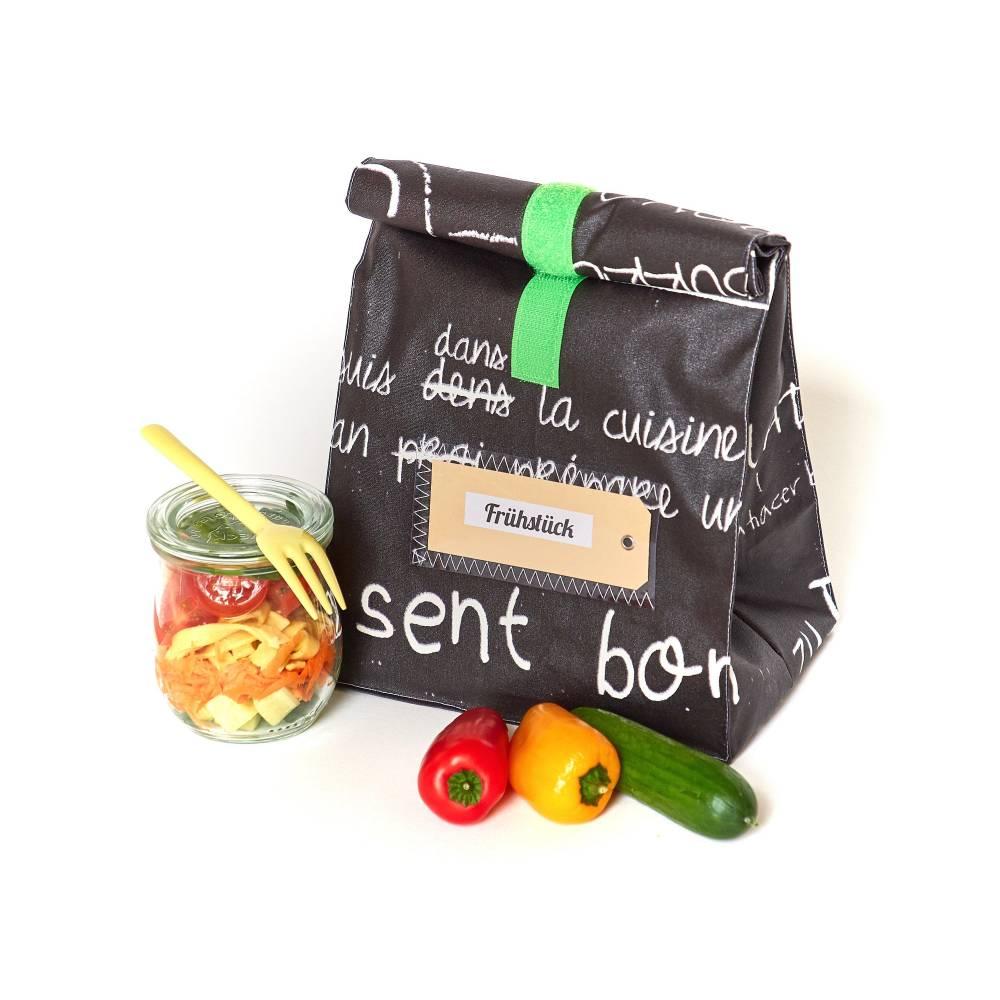 Lunchbag/ Brotbeutel/ schwarz- weiß/ Tafelstoff/ beschichtete Baumwolle/ mit Innenfutter/ wasserabweisend Bild 1
