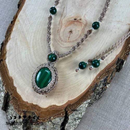 Malachit Makramee Halskette mit 925 Sterling Silber Perlen, Edelstein Waldelfen Schmuck