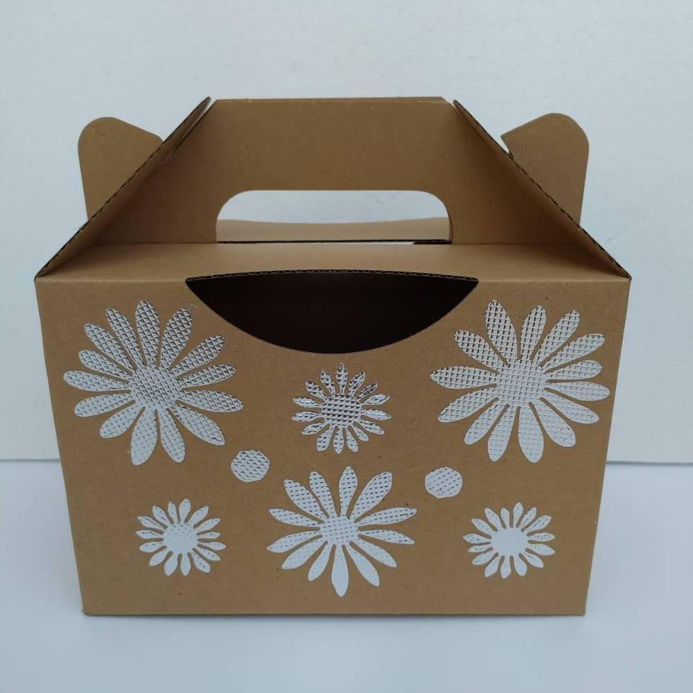 Geschenkschachtel _ Box _ Blumen _ Silberfolienverzierung  Bild 1