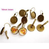10 x Ohrhänger Klappbrisur Bronze 14mm innen Ohrringe Brisuren Ohrringfassung Cabochonfassung (BR8) Bild 1