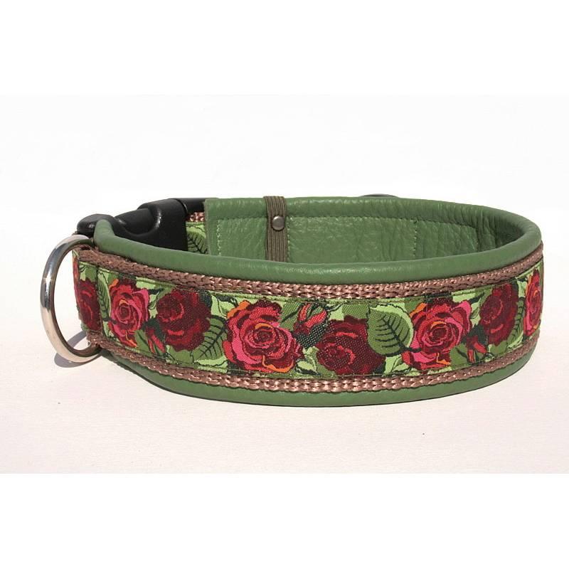 Hundehalsband »Wild Roses « mit echtem Leder unterlegt aus der Halsbandmanufaktur von dogs & paw Bild 1