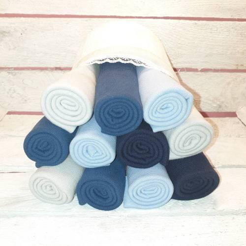 Mittleres Bündchenpaket *Wilde Jungs* Jungen Marineblau Jeansblau Blaugrau Hellgrau Öko-Tex 100 Bündchen Bündchenstoff 70/35 cm Breite