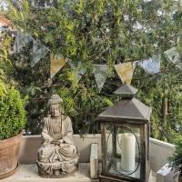 Wimpelkette aus Wachstuch • Wimpelkette Outdoor • Holunderblüten • ab 100cm • Bild 1