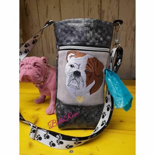 Gassitasche, Gassibag, Hundetasche Bulldogge , Kotbeutelspender, Umhängetasche Hunde Spaziergang, Geschenk