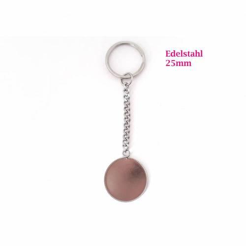 Schlüsselanhänger Rohling für Cabochon 25mm, Edelstahl