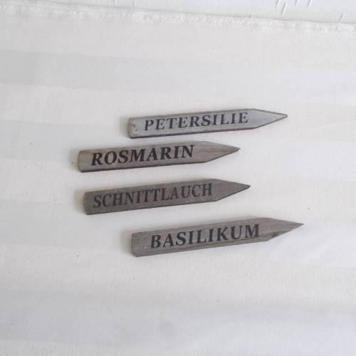 Kräuterstecker,Holz,4 er Set,Stecker für Kräuter,Gartenstecker Kräuter