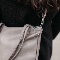 Lederfaserstoff Shopper & Umhängetasche Grautöne mit Reißverschluss Bild 3