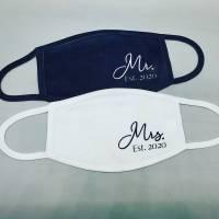 Set Masken Hochzeit Mr und Mrs Est 2021 - Mund-Nasen-Maske - Behelfsmaske - Hochzeitsmaske - Communityma Bild 1