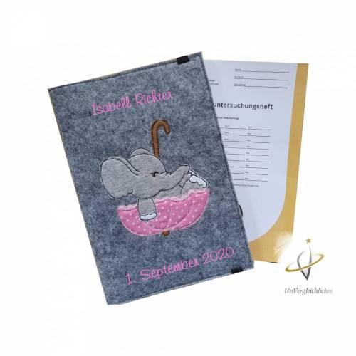 U-Hefthülle Elefant mit Regenschirm rosa mit Namen und Datum