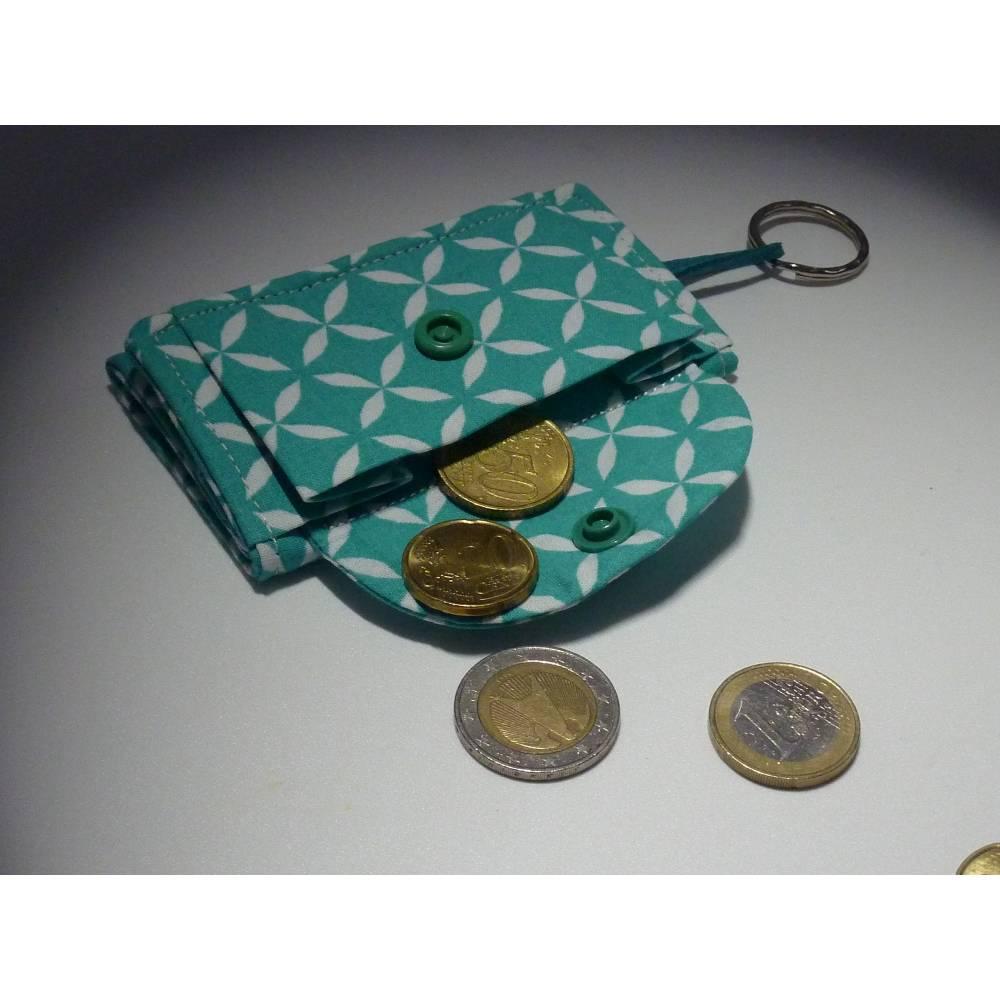 Geldbörse klein türkis weiß Schlüsselanhänger Bild 1