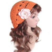 Damen Beaniemütze *Orangenblüte* Gr. S 54-55 cm Kopfumfang mit Baumwollgarn gehäkelte Handarbeit Bild 1