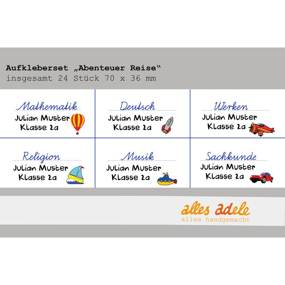 Heftaufkleber für die Schule mit Namen 24 Stk. - Auf der Reise | Personalisiert Bild 1