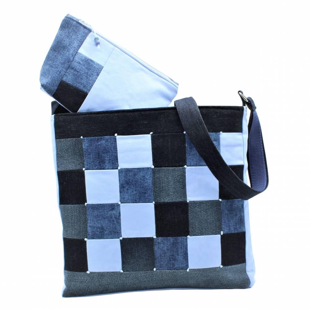 """❤ """"Dora"""" - Taschen-Set mit aufwendiger Patcharbeit, in blau Bild 1"""
