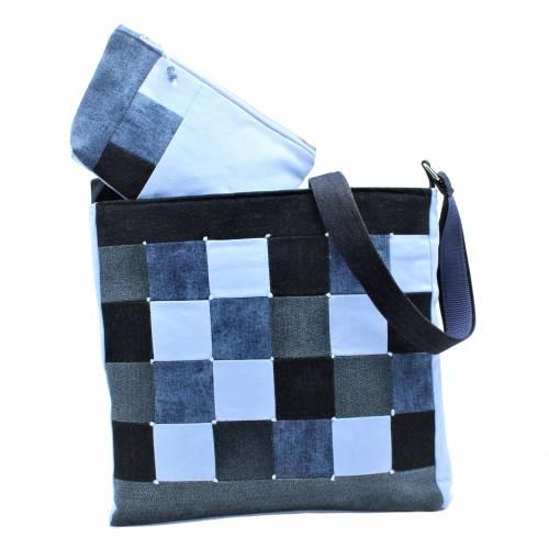 """❤ """"Dora"""" - Taschen-Set mit aufwendiger Patcharbeit, in blau"""