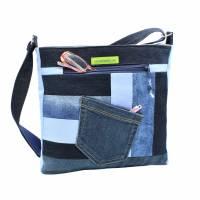 """❤ """"Dora"""" - Taschen-Set mit aufwendiger Patcharbeit, in blau Bild 2"""