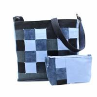 """❤ """"Dora"""" - Taschen-Set mit aufwendiger Patcharbeit, in blau Bild 3"""