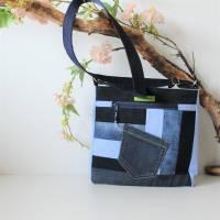 """❤ """"Dora"""" - Taschen-Set mit aufwendiger Patcharbeit, in blau Bild 7"""
