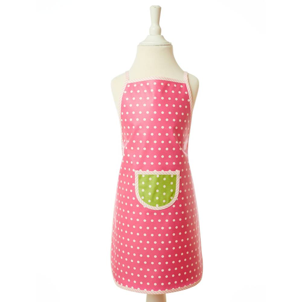 abwaschbare Schürze/ pinke Kinderschürze/ beschichtete Baumwolle/ Kochschürze/ Backschürze/ Bastelschürze Bild 1