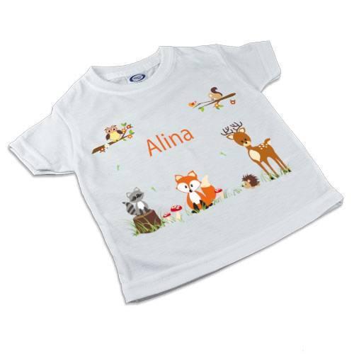 T-Shirt, Kinder T-Shirt mit Namen, Mädchen, Motiv Waldtiere orange