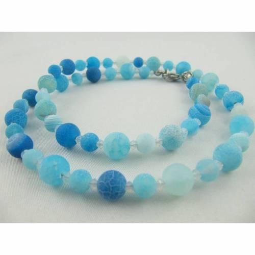 Set Kette Armband Ohrringe Achat Perlen Hellblau (545)