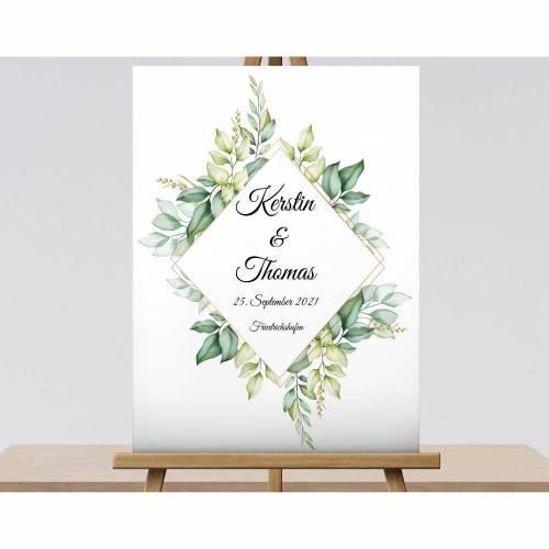 Eukalyptus Schild, Willkommensschild Brautpaar Namensschild Hochzeitsgeschenk
