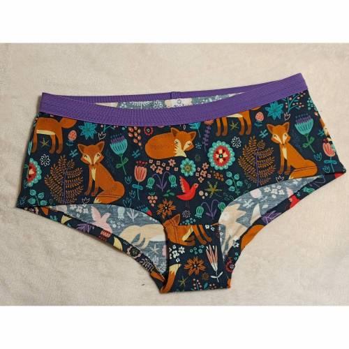 """MoodySous Damen-Hipster Unterhose """"Foxy"""" Füchse Fuchs Blumen Vögel aus Jersey Größen 34-44"""