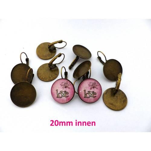 10 x Ohrhänger bronze 20mm innen Klappbrisuren Ohrringe Cabochonfassung Rohling (BR13)
