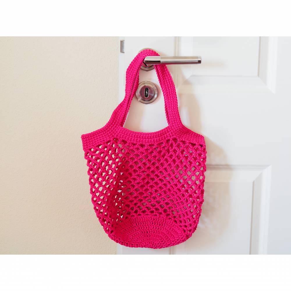 Häkeltasche Einkaufstasche Einkaufsnetz in pink aus hochwertiger Baumwolle mit Schulterriemen gehäkelt Bild 1