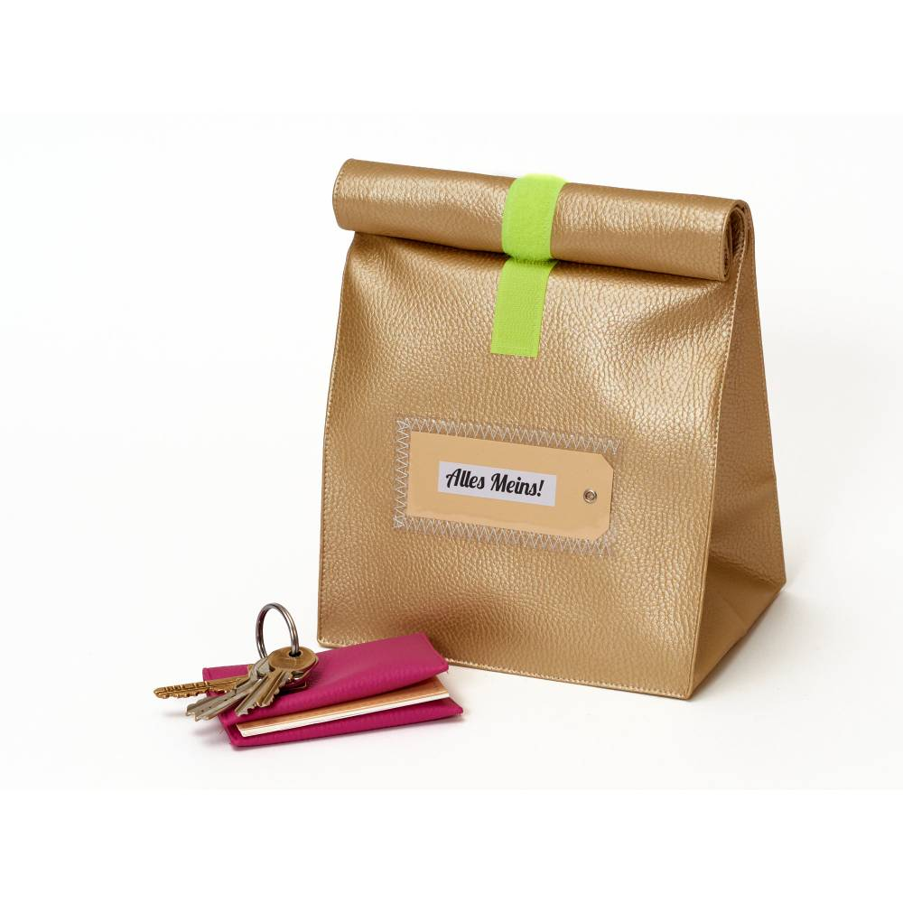 Tasche gold, metallic kunstleder, kulturtasche, lunchbag Bild 1