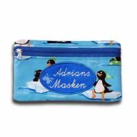 Waschbare Masken-Tasche Pinguin Kinder / Mundschutz-Tasche Masken-Etui mit Monogramm für Mund-Nasen-Maske, Gesichtsmaske - handgenäht für Damen und Kinder  Bild 1