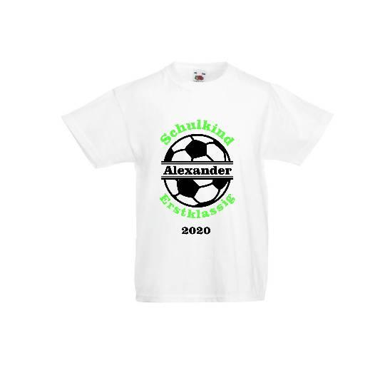 T-Shirt zur Einschulung mit Fußball Schulkind erstklassig mit Name Bild 1