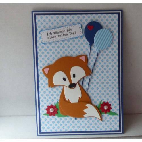 Glückwunschkarte zum Geburtstag mit Fuchs