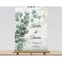 Eukalyptus Hochzeitsgeschenk Vintage, Shabby Chic Hochzeitsschild, Willkommensschild Bild 1