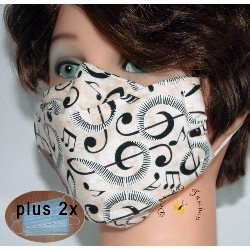 OP-Maskencover waschbare Designer-Masken beige Noten Musiker Mund-Nasen-Masken Alltagsmasken Damen Herren Kinder Bild 1