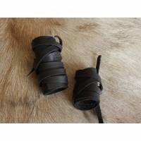 Krieger Haarband - 2 Teile - Schwarz - Viking Leder Haarbänder 2er Set - Lederhaarband - Mittelalter Wikinger Keltisch Bild 1