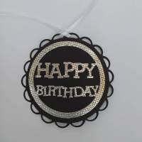 5 große Geschenkanhänger _ Happy Birthday _ schwarz / silber Bild 1