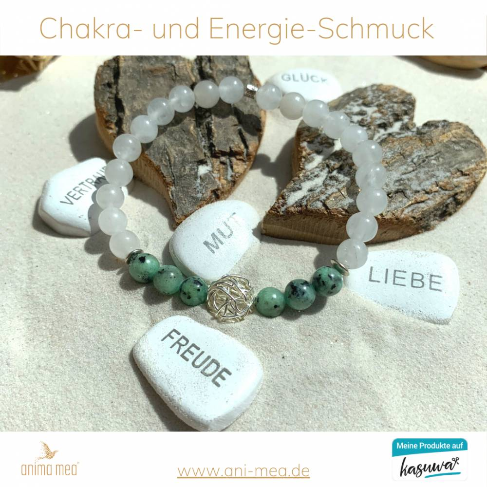 Atmapriya-Armband aus der exklusiven anima mea Kollektion - Schutzkugel, grün, türkis, weiss, silber  Bild 1