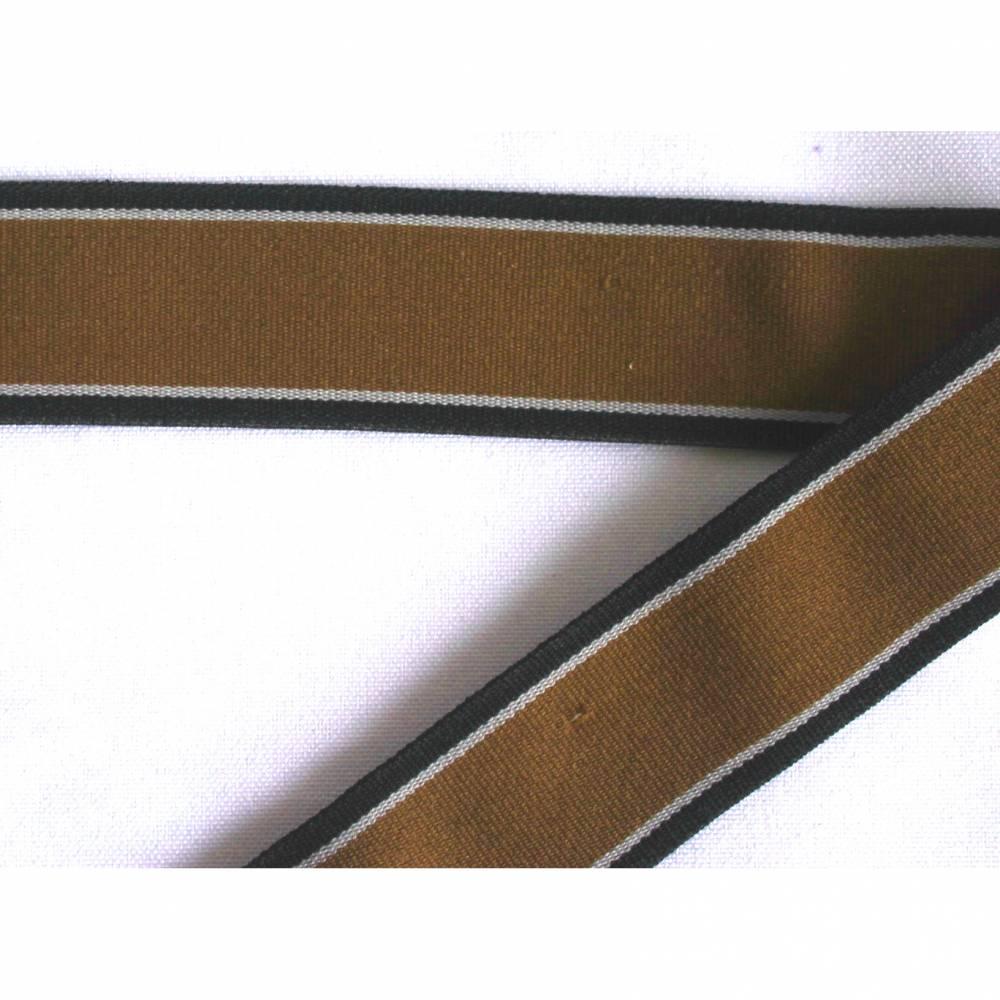 1m Band Gummiborte 30mm Gummiband Zierband hellbraun schwarzt weiß weich Ziergummi Gummi Streifen Bild 1