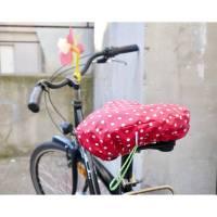 Sattelbezug, Fahrradsattelschoner, rot mit kleinen weißen Pünktchen, wasserabweisend Bild 1