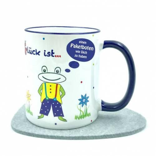 """Danke Geschenk Paketbote, Tasse """"Glück ist, einen Paketboten wie Dich zu haben"""","""