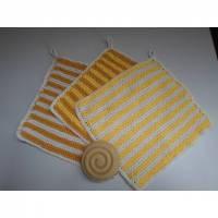 Waschlappen gestrickt aus Baumwolle 3 Stück *gelb* von friess-design  Bild 1