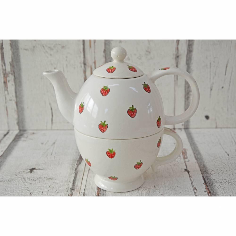 Tea for one Set, Kännchen mit Tasse, Keramik handbemalt, Erdbeeren Bild 1