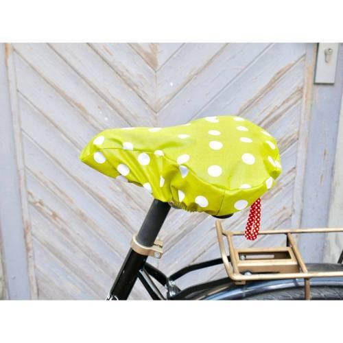 Fahrradsattelbezug, Sattelschoner, oliv mit großen Punkten, wasserabweisend
