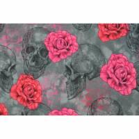 Jersey mit Totenkopf und Rosen Skull grau 50 x 155 cm Nähen Stoff Gothic Bild 1
