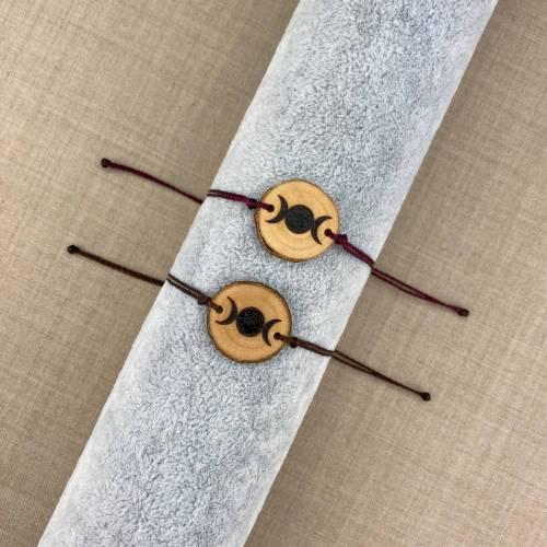 handgebranntes Dreifache Göttin Armband, Monde Holzschmuck, Brandmalerei
