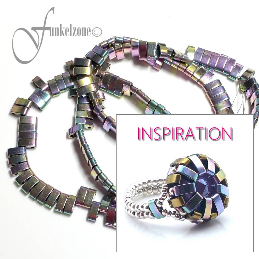 HÄMATIT | Half - Tila Beads | Zweilochperlen | 2,1 x 5 mm | zartlila metallic | 1 Strang | ~ 180 Stück | Naturstein | Mineralien | #870769 Bild 1
